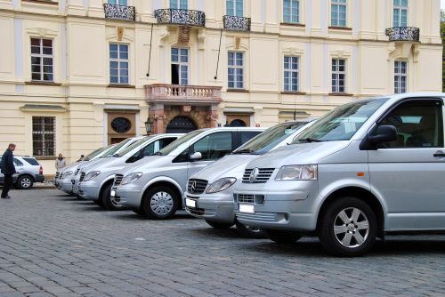 Car fleet of Airport Transfer Prague at Prague Castle Square