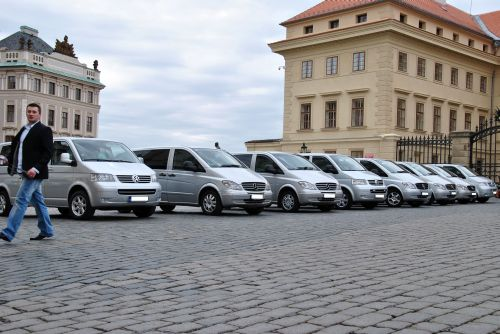 Prague airport minivan car fleet at Hradcany Prague Castle Square